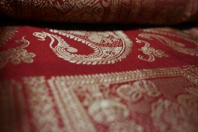 Maroon Meenakari Baluchari Saree on Bishnupuri Silk