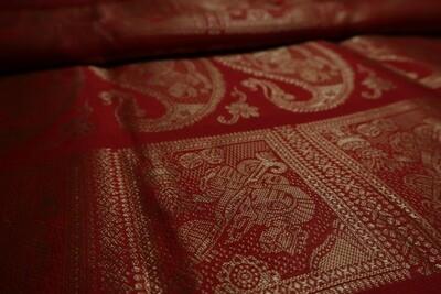 Pegal red Meenakari Baluchari Saree on Bishnupuri Silk