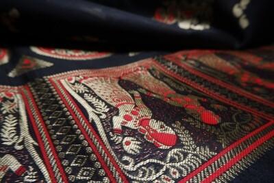 Black Meenakari Baluchari Saree blended Bishnupuri Silk