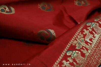 red Swarnachari Baluchari Saree on Bishnupuri Silk