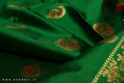 bottle green Swarnachari Baluchari Saree on Bishnupuri Silk