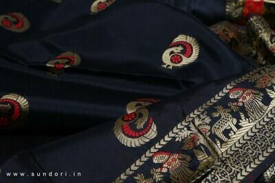 black Swarnachari Baluchari Saree on Bishnupuri Silk