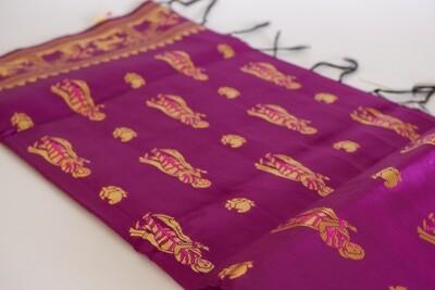 purple blended silk bishnupuri baluchari