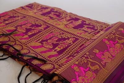 purpely blended silk bishnupuri baluchari