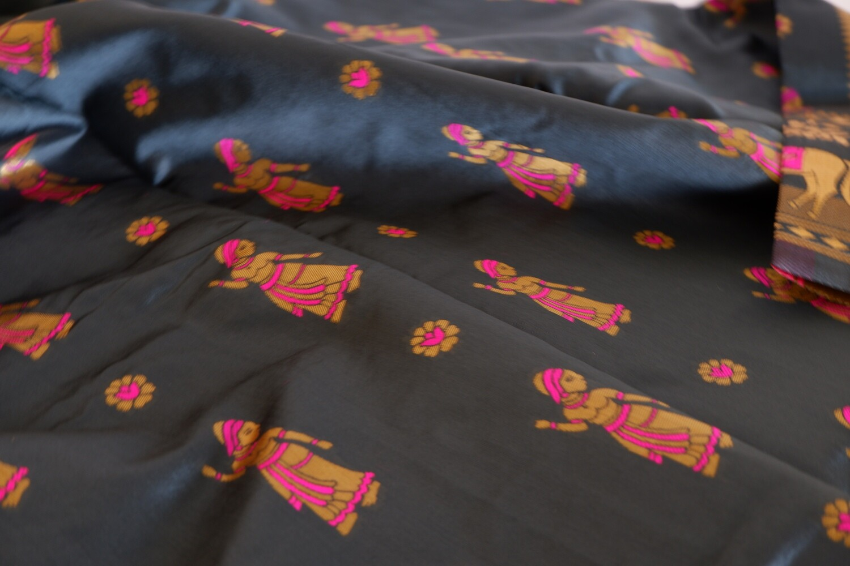 slate blended silk bishnupuri baluchari