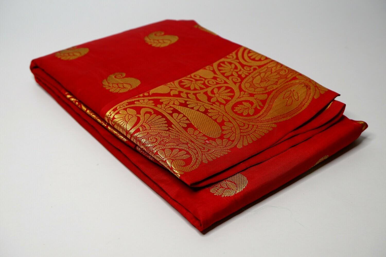 bangalore silk mahagony red contrast anchal