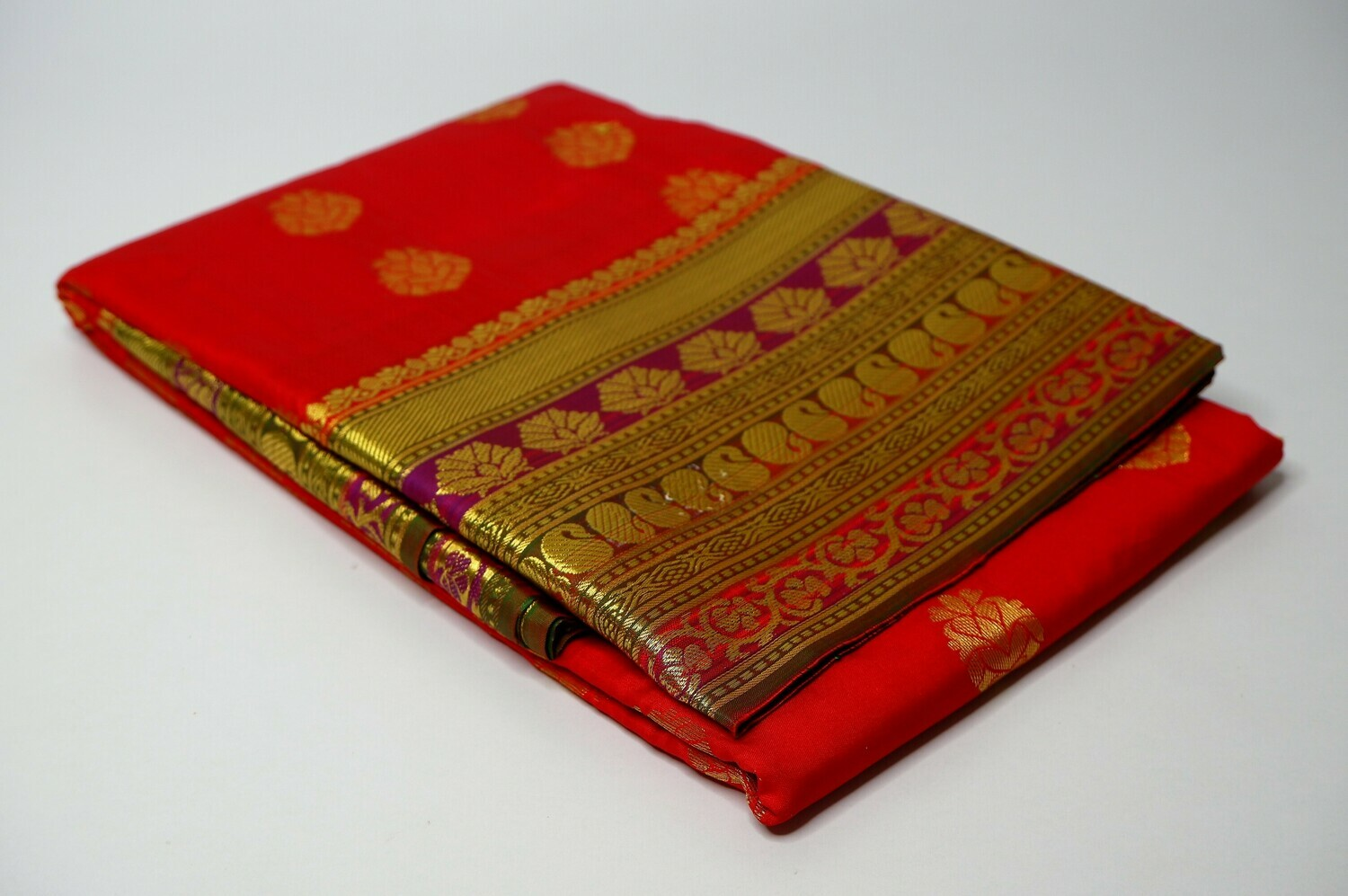 bangalore silk raspberry red contrast anchal