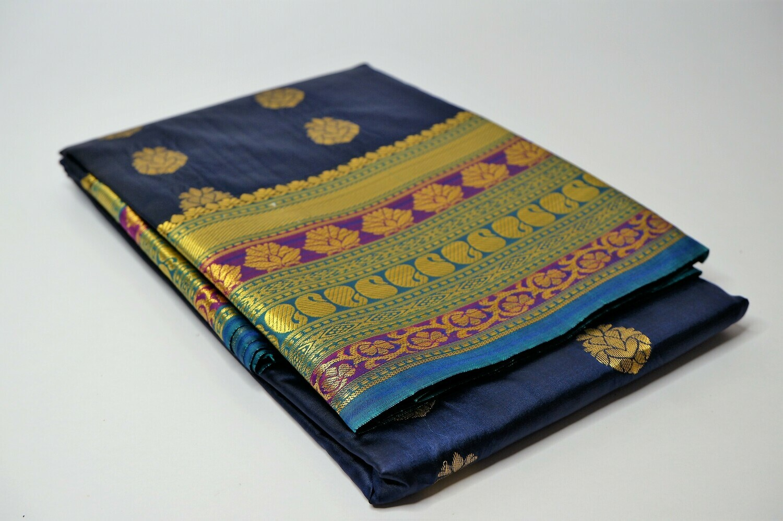 bangalore silk navy blue contrast anchal