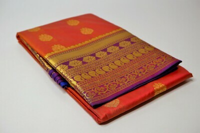 bangalore silk rust contrast anchal