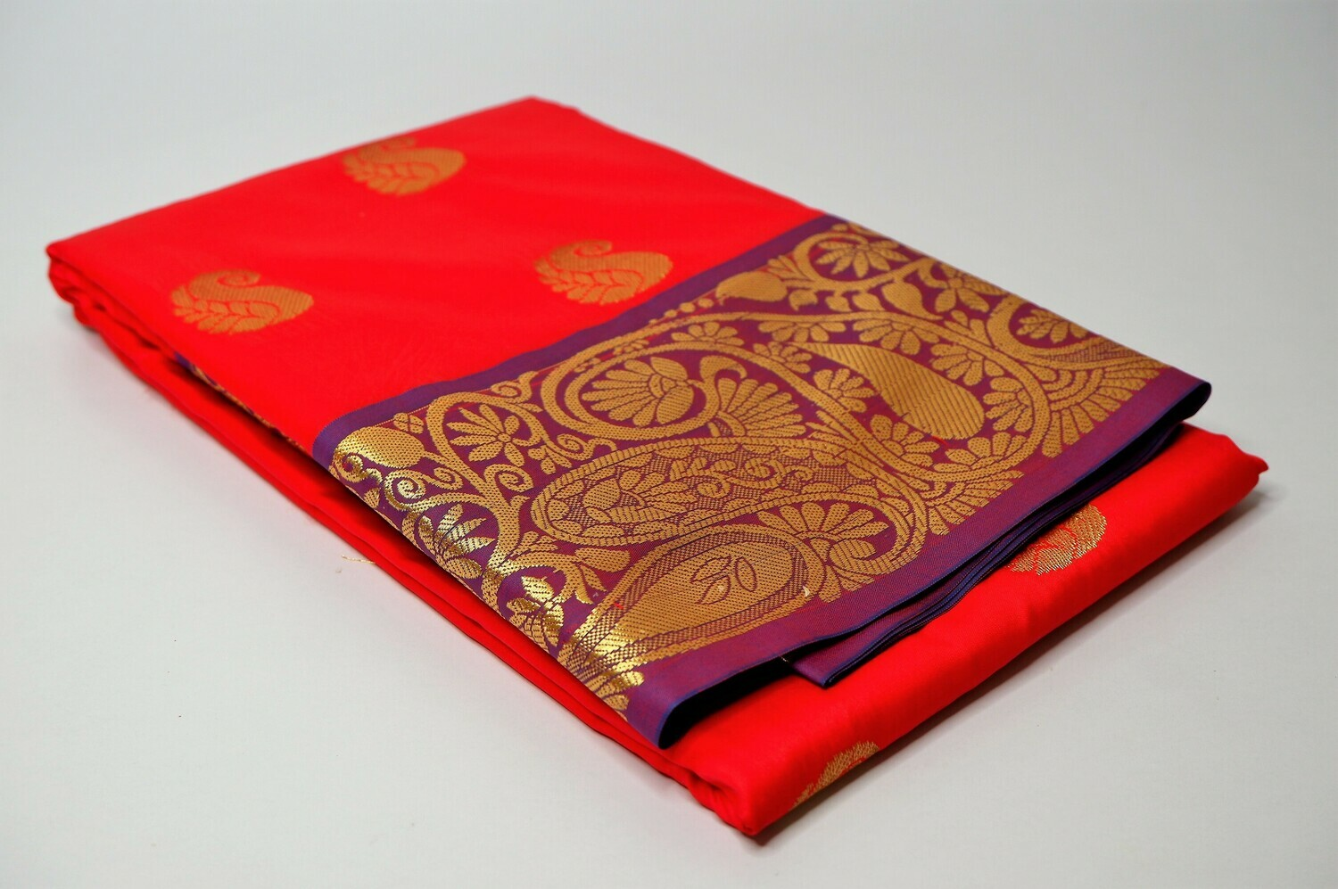 bangalore silk cherry red contrast anchal