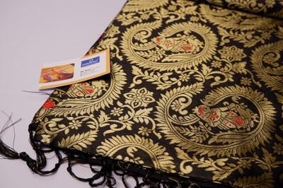 black swarnachari full body baluchari silk blended