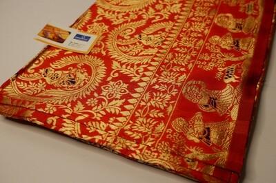 red swarnachari full body baluchari silk blended