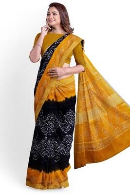 Calcutta yellow linen batik print saree