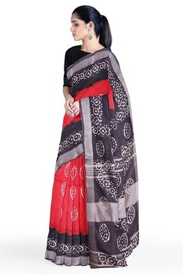 Women Calcutta Red Linen Batik Print Saree