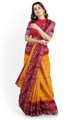 Calcutta amber yellow linen batik print saree