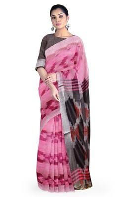 sundori baby pink linen ikkat print saree