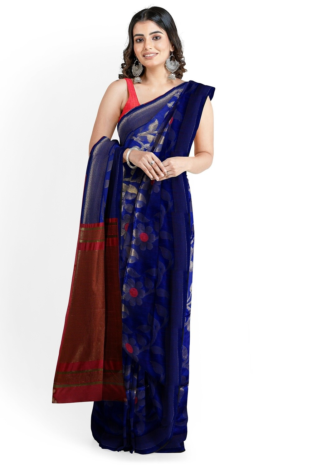 Bhagalpuri Navy Blue Semi Ghicha Silk Saree