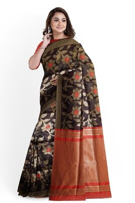 bhagalpuri black semi ghicha silk saree