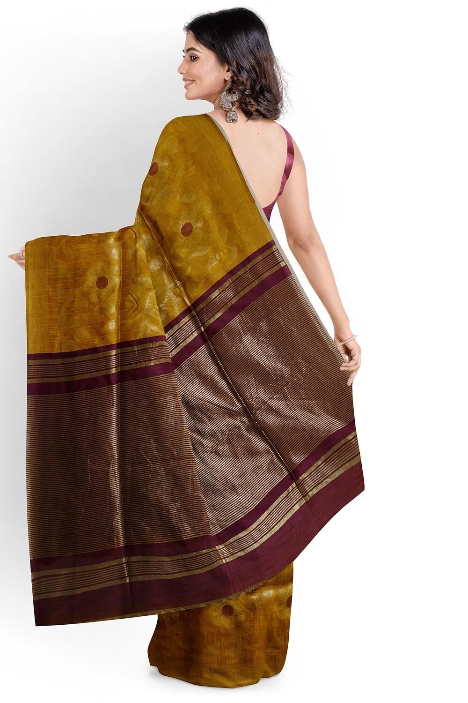 bhagalpuri mustard yellow semi ghicha silk saree