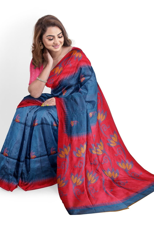 bhagalpuri Saphire blue semi ghicha silk saree