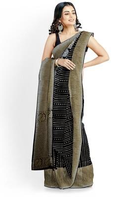 Sundori Black Blended Moha Par Semi Ghicha silk saree