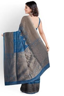 sundori blue blended moha par ghicha silk saree
