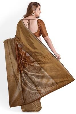 sundori bronze blended moha par semi ghicha silk saree