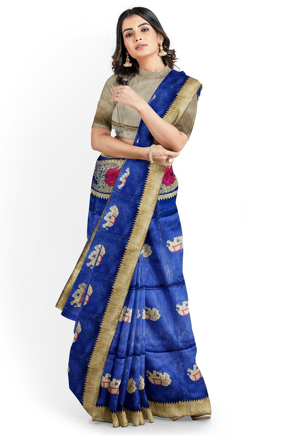 sundori navy blue  semi ghicha silk saree