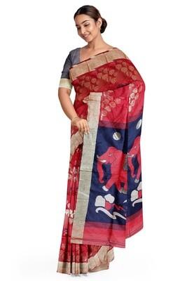 sundori red semi ghicha silk saree