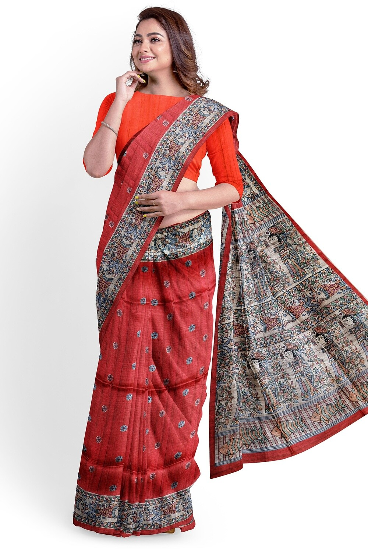 red semi Tussar Madhubani Print Saree