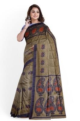 sundori Dark beige semi ghicha silk saree