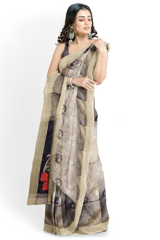 sundori light beige semi ghicha silk saree