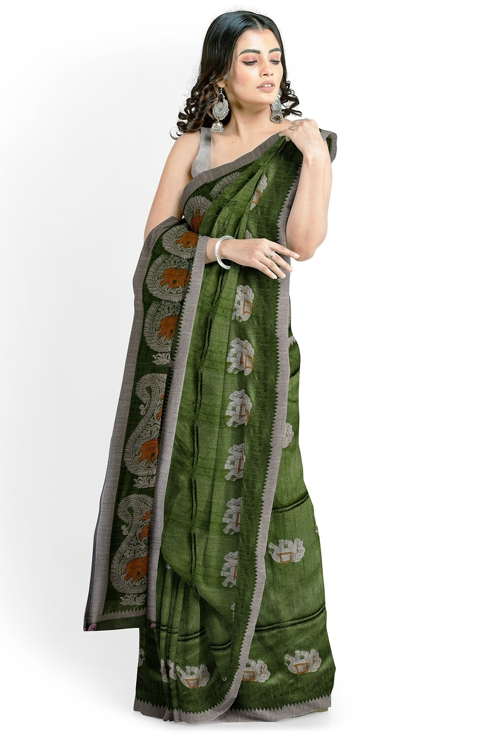 sundori juniper green semi ghicha silk saree