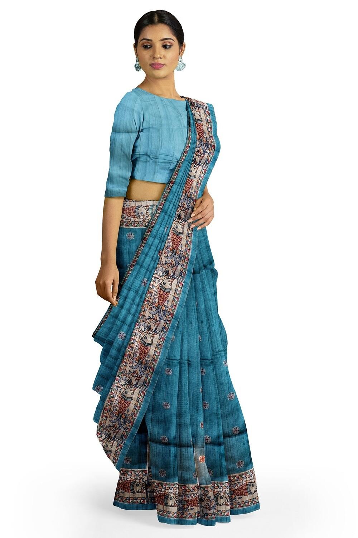 teal blue semi Tussar Madhubani Print Saree