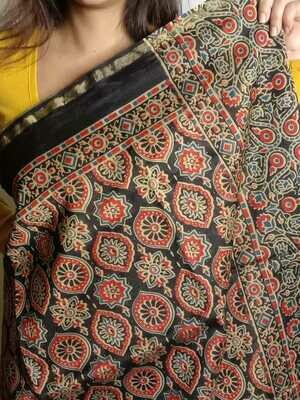 original ajrakh block print chanderi silk