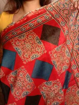 original red ajrakh block print chanderi silk