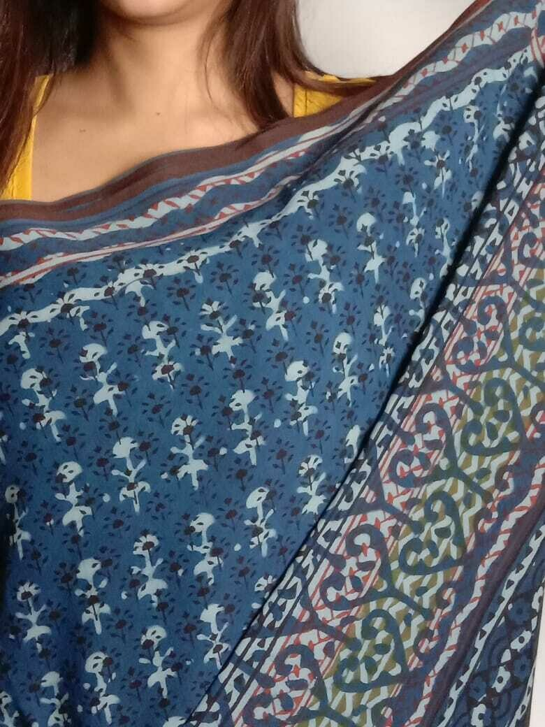 original indigo mulmul block print on pure cotton