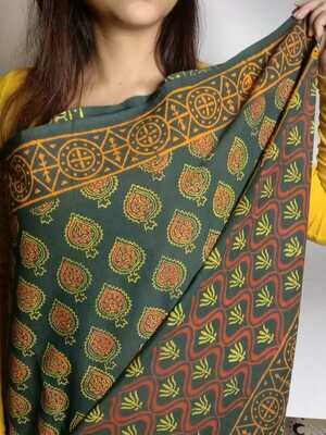 original mulmul block print on pure cotton
