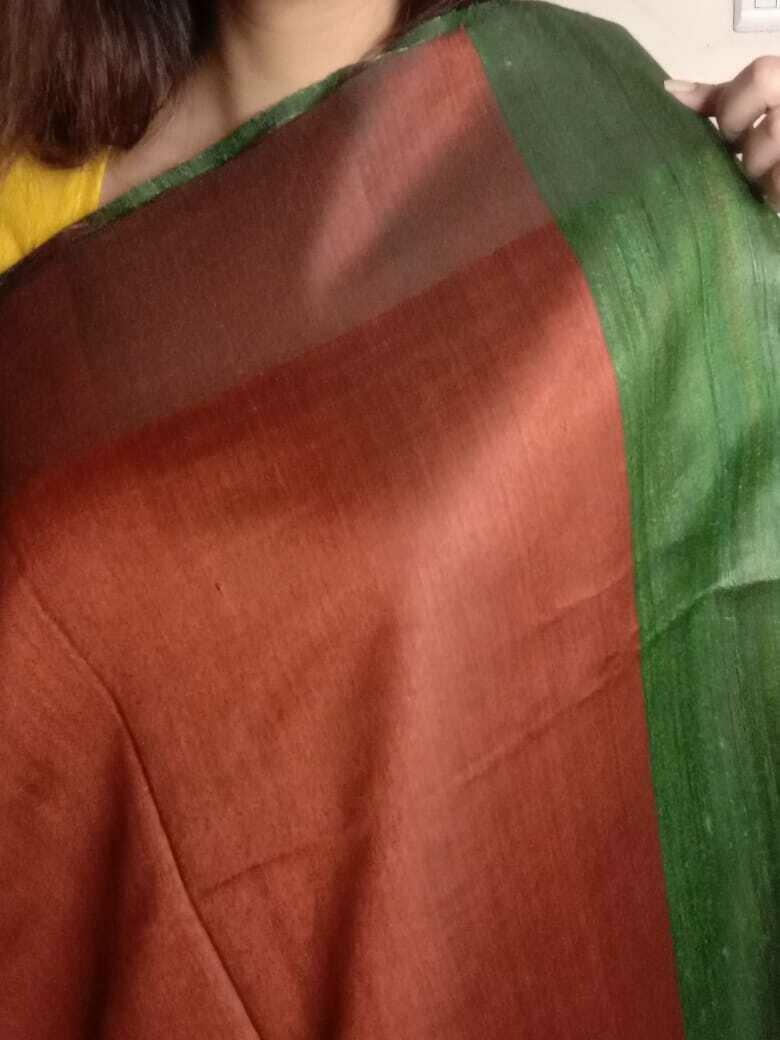 original red & green Pure tussar silk Saree hand woven