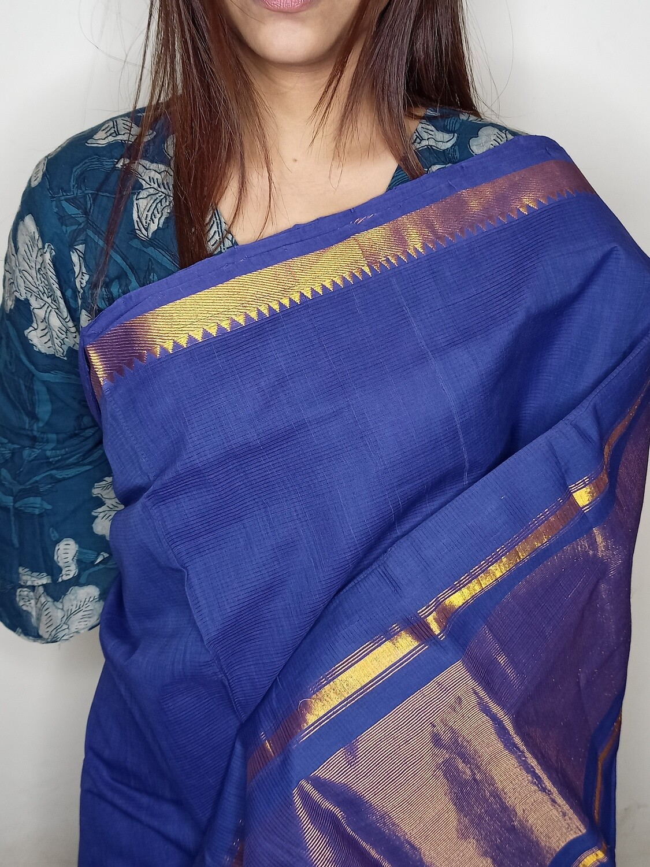 Sundori Mangalagiri Robin Blue Woven Cotton Saree