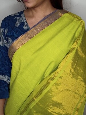 Sundori Mangalagiri Banana Leaf Green Woven Cotton Saree