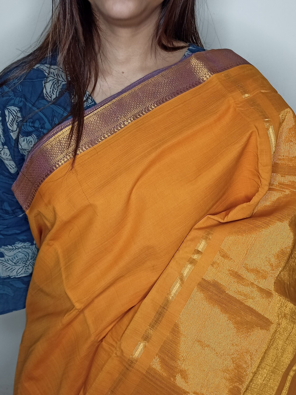 Sundori Mangalagiri Gold Rust Woven Cotton Saree