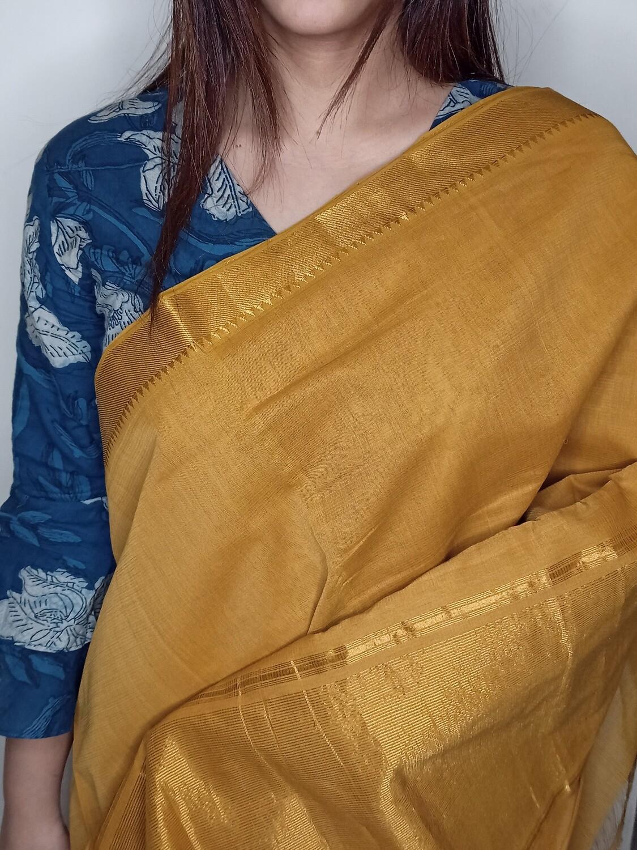 Sundori Mangalagiri khaki Gold Woven Cotton Saree