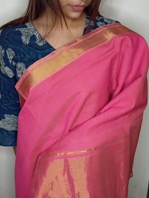 Sundori Mangalagiri Pink Woven Cotton Saree