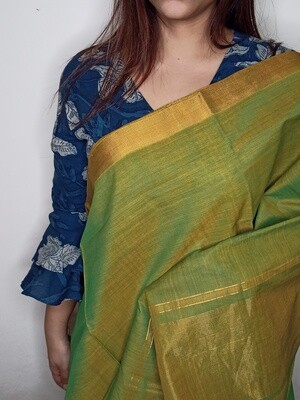 Sundori Mangalagiri Olive Green Woven Cotton Saree
