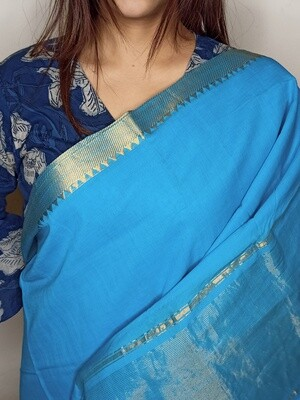 Sundori Mangalagiri Sky Blue Woven Cotton Saree