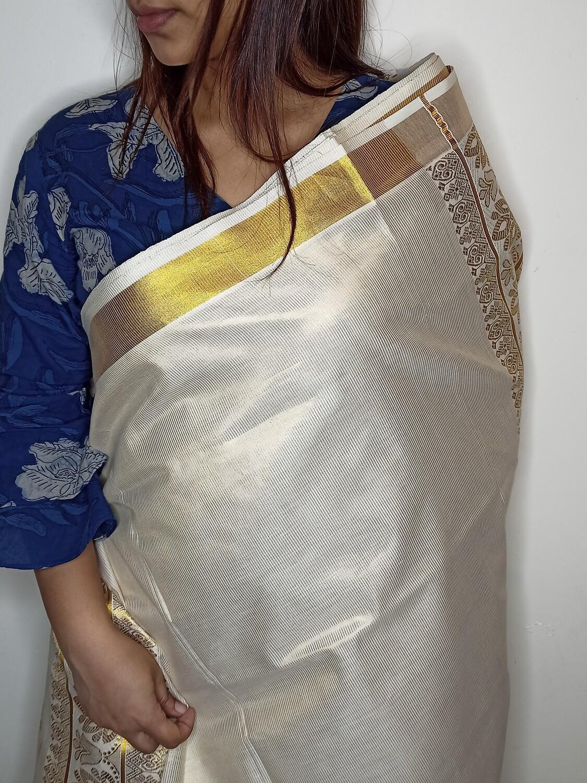 Sundori Off-White Kerala Cotton Swarna Kasavu Saree