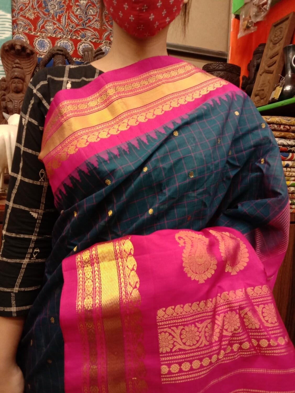 Handpicked Gadwal Premium Saree in Pink and Blue