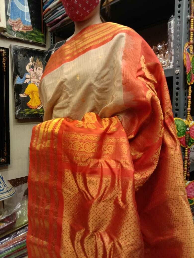 Handpicked Gadwal Premium Saree in Beige and Orange