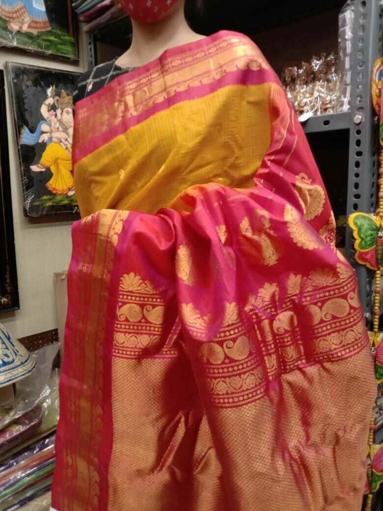 Handpicked Gadwal Premium Saree in Mustard and Pink